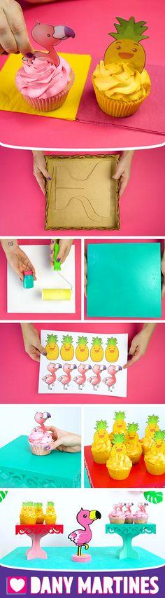 Faça você mesmo Cupcakes fofos, fácil de fazer, flamingo, abacaxi, Kawaii, fofinho, decoração, festa tropical, aniversário, mdf, bandeja, DIY, Do It Yourself, Dany Martines