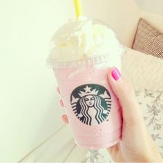S t a r b u c k s♡ Cotton Candy Frappuccino. I had one yesterday. Order a Vanilla Bean Frappuccino with one pump raspberry syrup. (That's for a tall. Add one pump per size). Totally changed my life! I never felt like such a girly girl. #CottonCandy #Frappuccino #Starbucks #MyLife