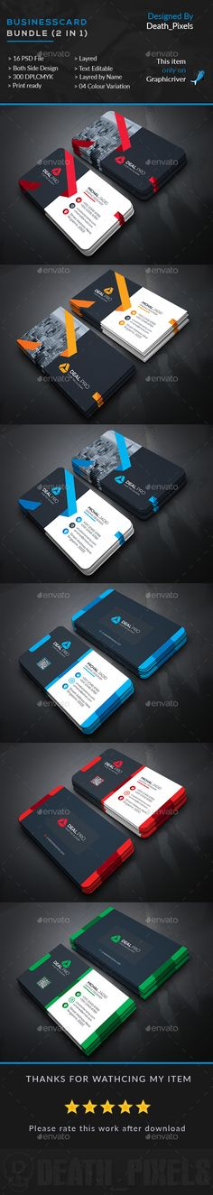 Business Card Template PSD Bundle. Download here: https://graphicriver.net/item/business-card-bundle-2-in-1/17162497?ref=ksioks
