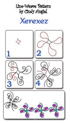 Xerexez-Tangle  You can download this worksheet from rainbowelephant.com  http://www.flickr.com/photos/paintchip_61/6567391721/in/pool-1447935@N21/ #Zentangle #Zentangle Tutorial