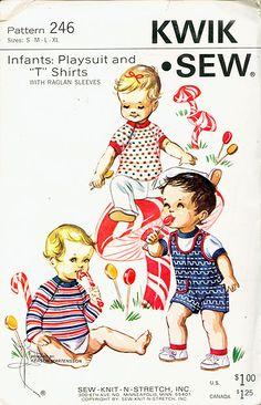 "KWIK SEW 246 ca.1960's INFANT PLAYSUIT AND ""T"" SHIRTS Size S-XL UNCUT - New Vintage Studio"