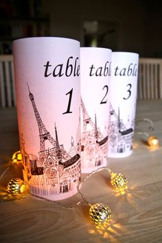 Paris Table Number Luminaries  just add by ScandinavianToys, $25.00