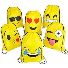 Emoji Drawstring Backpack Bags by NALAKUVARA, 6 Pack Cute Assorted Emoticon Party Favors Supplies Stuff for Kids Teens Girls Boys Gift, 16X13 Inch