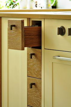 Solid Oak Spice Drawers designed by Candi Kitchens