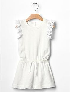 Eyelet Ruffle Drop Waist Dress for Girls