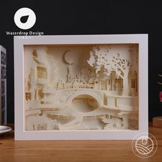 Light bridge 3D paper sculptures lamp living room bedroom headboard decorating DIY ideas simple and modern romantic LED