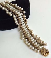 Beautiful Vintage Miriam Haskell Dangle Bracelet~Baroque Pearls/Gold Tone~Signed