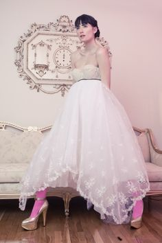"""One of a Kind CUSTOM Ultimate """"Queen for the Night"""" Party Dress    Size S/M    SUPER RARE    Top part of dress is a vintage bustier that fits size A or B cup. Bottom of dress is made from a vintage lace wedding gown. Dress is detailed with velvet ribbon across the front.    Sexy & Elegant!!!"""