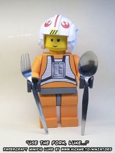 """Well he kinda has to use the fork, because as everybody who has seen The Matrix movie knows, """"there is no spoon.o) Why papercraft LEGO SW Luke should use the Fork Paper Toys, Paper Crafts, The Matrix Movie, Free Paper Models, Fork, Lego, Deviantart, Artist, Artwork"""