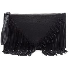 Sole Society Carmela Clutch With Suede Fringe ($50) ❤ liked on Polyvore featuring bags, handbags, clutches, bags and purses, bolsas, black, hand bags, fringe clutches, flat purse and sole society
