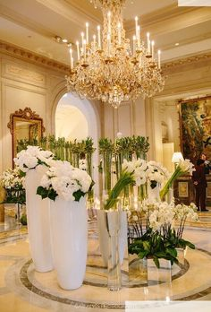The lobby at the George V in Paris, France
