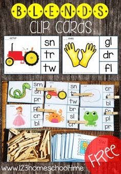 FREE Blends Clip Cards - these are such a fun, low prep activity for helping 1st grade and 2nd grade students practice consonant blends (phonics, reading, homeschool, free printable, language arts)