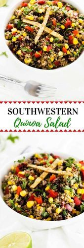 Southwestern Quinoa Salad – Vegan & Gluten Free – Wendy Polisi Southwestern Quinoa Salad – This Southwestern Quinoa salad is a vegan quinoa salad that even omnivores will love! Colorful, delicious and packed with plant-based nutrition. Quinoa Salad Recipes, Vegetarian Recipes, Healthy Recipes, Healthy Food, Mexican Quinoa Salad, Vegetarian Salad, Healthy Eating, Healthy Dishes, Healthy Salads