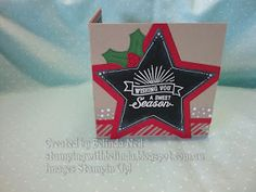 Stampin' Up! Corner Fold Card. Oh What Fun & Holly Berry Happiness- Candy Cane Lane