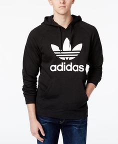 Roll with an Old School look with this simple hoodie from adidas Originals, featuring the iconic logo at the front. | Cotton/polyester | Machine washable | Imported | Regular fit | Attached hood with