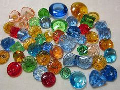 Gorgeous Lot Vintage Colorful Depression Glass Buttons | eBay