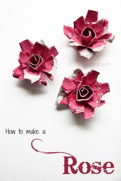 How to make pretty upcycled roses from egg cartons.