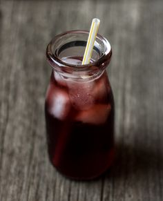 Cherry Balsamic Shrub. A shrub is a macerated fruit drink mixed with sugar and vinegar. Nowadays may have seltzer or liquor added. Refreshing!