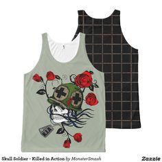 Skull Soldier - Killed in Action All-Over Print Tank Top Skull Tank Tops, Killed In Action, Skull Design, Printed Tank Tops, Horror Art, Print Tank, Skeletons, Skulls, Tank Man