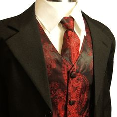 Paul Malone red and black paisley tie and vest