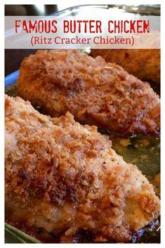 FAMOUS BUTTER CHICKEN  (aka RITZ CRACKER CHICKEN- The BEST baked chicken recipe! #ChickenRecipe #Chicken #RitzCrackerChicken #Easy #MainDish  #BakedChicken #Recipe