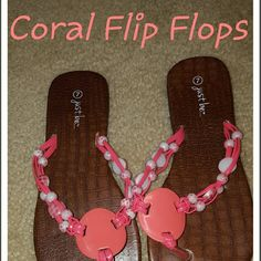 Adorable Coral Flip Flops Super cute and comfy. They were too big for me. Never worn. Shoes Sandals