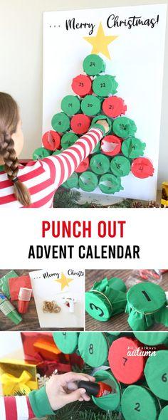 DIY Punch Out Advent Calendar - It's Always Autumn Christmas Calendar, Merry Christmas Sign, Kids Christmas, Christmas Projects For Kids, Christmas Tables, Nordic Christmas, Modern Christmas, Xmas, Advent For Kids