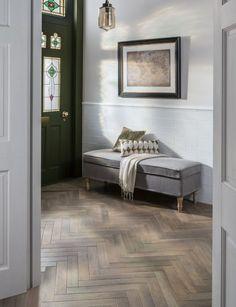 Tiled Hallway, Hallway Flooring, Living Room Flooring, Bathroom Flooring, Wood Parquet, Wood Tile Floors, Parquet Flooring, Wood Effect Floor Tiles, Herringbone Wood Floor