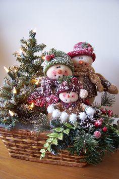 "Snowman Basket, ""Dressing the Christmas Tree""."