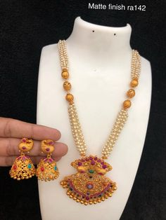 Temple jewellery available at AnkhJewels for booking WhatsApp on Gold Chain Design, Pearl Set, Temple Jewellery, Pearl Jewelry, Gold Chains, Jewerly, Indian, Fashion, Moda