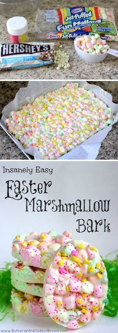 Easter Marshmallow Bark. I HAVE to do this! Maybe heart shaped too for Valentine's Day!