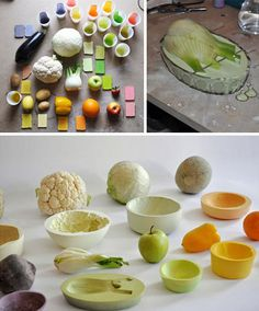 Ceramics: Backward Bowls: From Form-Cast Fruit to Inverted Veggies. I SO want to do this!
