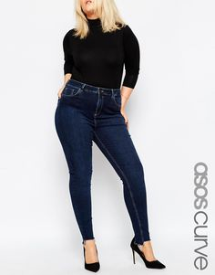 ASOS CURVE Lisbon Mid Rise Skinny Ankle Grazer Jean in Binx Wash with High-Low Raw Hem