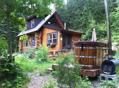 Off-grid cabin with a hot tub