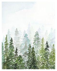 Evergreen acuarela lámina por YaoChengDesign en Etsy