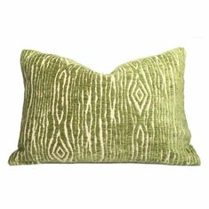 Faux Bois Wood Grain Green Beige Velvet Texture Pillow Cover (John Robshaw designer fabric) - Fits 12x18 insert(SOLD OUT) / Pattern on Both Sides