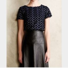 """Anthropologie M Plume Point Tee Weston Wear EUC!   Weston Wear from Anthropologie     """"Plume Point Tee""""    Size Medium - loose fit    Metallic, feather textured front.    Excellent used condition!     Bust: 19"""" across the front, lying flat. Has stretch!    Length: 24.25"""" from shoulder to hem.   ✳️ Bundle to Save 20%!  ❌ No Trades, Holds, PP   100% Authentic!    Suggested User // 800+ Sales // Fast Shipper // Best in Gifts Party Host!  Anthropologie Tops"""