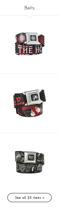 """""""Belts"""" by chemicalfallout249 ❤ liked on Polyvore featuring accessories, belts, hot topic belts, buckle belt, hot topic, band merch, other, jewelry, bands and ptv"""