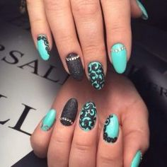 Ideas of turquoise nails Nail Art Design Gallery, Cute Nail Art Designs, Beautiful Nail Designs, Gorgeous Nails, Perfect Nails, Cute Nails, My Nails, Turquoise Nail Art, Bright Nails