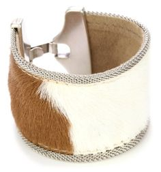 """Streets Ahead 1 1/2"""" Italian Calf Hair Leather with Ivory and Tan Pony Print Cuff Bracelet Streets Ahead"""
