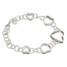 Silverswan 925 Sterling Silver Plated Chain of Hearts Bracelet For Women