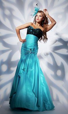 Blue Mermaid/Trumpet Strapless Long/Floor-length Light Prom Dress PD36E8