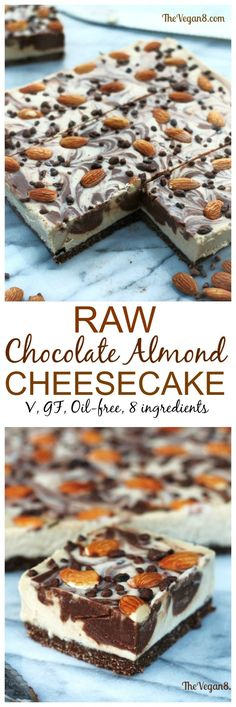 8 Ingredient Raw, vegan, gluten-free, oil-free Chocolate Almond Cheesecake | http://TheVegan8.com | #vegan #cheesecake #raw #desserts #almond #chocolate