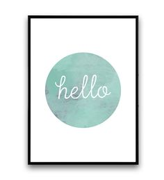 Hello print watercolor decor hello sign pink print от Wallzilla