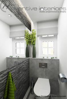 Projekt łazienki Inventive Interiors - szare płytki imitujące kamień w małej łazience