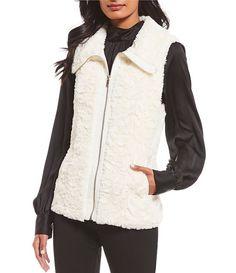 076d8de9ecd Calvin Klein Swirled Floral Pattern Faux Fur Zip-Front Vest