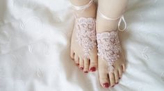 beach shoes bridal sandals beaded lariat sandals by BloomedFlower, $18.00