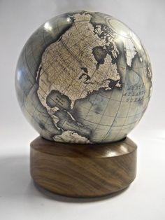Desk Globe by Bellerby Globemakers Handmade, bespoke, custom mini desk globe… World Globe Map, Globe Art, World Globes, Map Globe, Vintage Globe, Vintage Maps, Antique Maps, Desk Globe, Mini Desk
