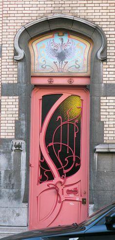 Art Nouveau Door - Bruxelles, Belgique: rue de Belle-Vue revisitée by Marie-Hélène Cingal, via Flickr