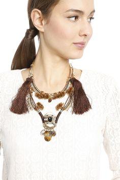 Collana con nappe e pendente, marrone - Diffusione Tessile